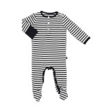 Sweet Bamboo Black Stripe Footie