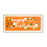First Snow Happy Birthday Card Branches & Cake Tangerine