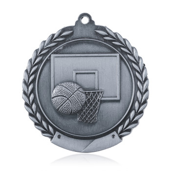 "Basketball 1 3/4""  Wreath Medal"
