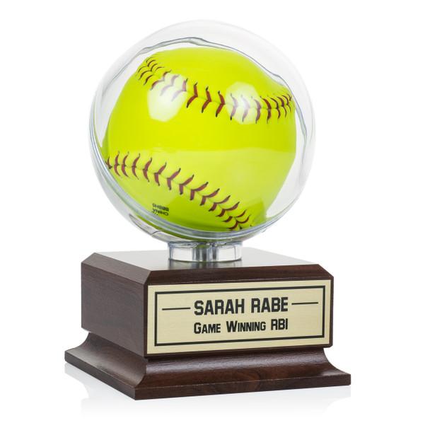 Softball Clear Display - Wood