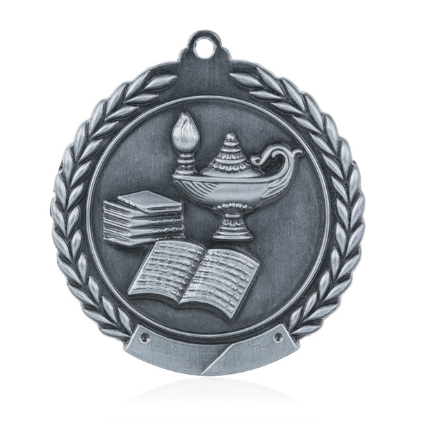 """Lamp of Knowledge 1 3/4""""  Wreath Medal"""