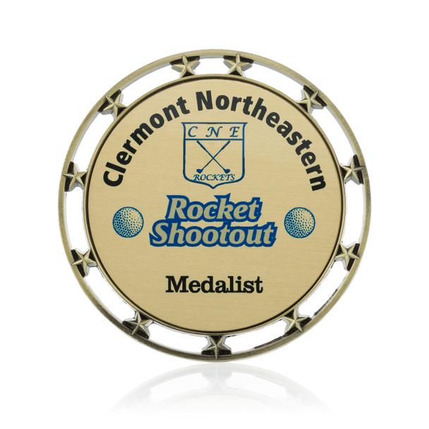 Stars Value Medal with Custom Metal Emblem