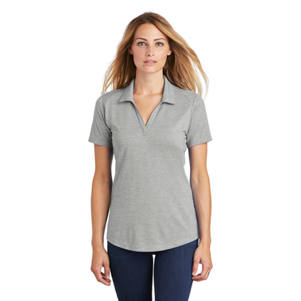Light Grey Heather Posi-Charge Tri-Blend Wicking Polo