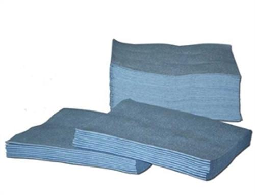 "Blue Spunlace smooth Quarter Folded poly bagged 12"" x 13""  20 lb"