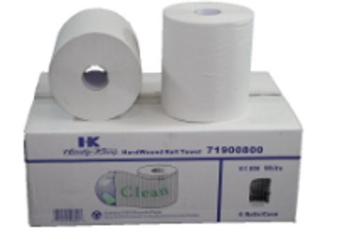 PAPR ROLL TOWEL 800 WHITE (6)CLEAN
