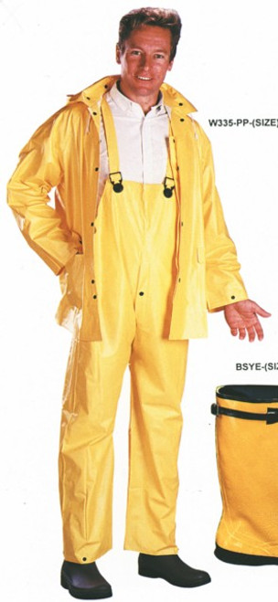 RAINSUIT 3PC YEL PVC/POLYS LG (W335-PP-LG) LARGE YELLOW
