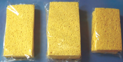 SPONGE SCRUB GREEN PK/40 (8PK/5) YELLOW W/GREEN SCRUB(60CS/SKD)