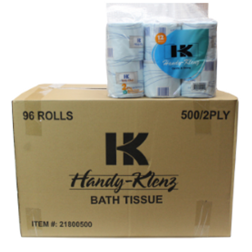 BATH TISSUE HANDY KLENZ  100 % RECYCLED 500- SHEETS 2 PLY