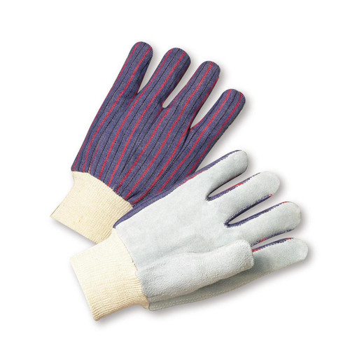 LEATHER PALM STRIPED CANVAS GLOVE 12 PAIR PER CASE