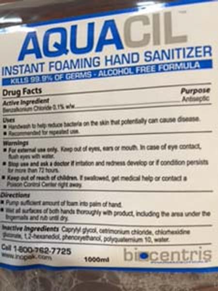 HAND SOAP  FOAM SANITIZER AQUACIL ALCOHOL-FREE ANTISEPTIC 1000 ML X 6 PER CASE
