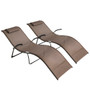 Crestlive Products Outdoor Folding Reclining Chaise Lounge Chair, Portable Sun Tanning Lounger, All Weather Furniture in Brown Finish for Lawn, Patio, Beach, Deck, Poolside