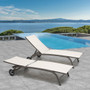 Crestlive Products 2-Piece Outdoor Adjustable Chaise Lounge Chair with Wheels