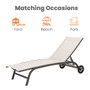 Crestlive Products 1-Piece Outdoor Adjustable Chaise Lounge Chair with Wheels in Beige