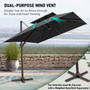 Crestlive Products Luxury 10 FT Double Top Square Offset Umbrella Outdoor Hanging Cantilever Umbrella for Patio, Garden, Yard w/ Heavy-Duty Aluminum Frame and 500H Fadesafe Canopy