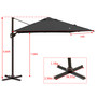Crestlive Products Patio Cantilever Umbrella, 10x10 FT Outdoor Offset Umbrella, Square Hanging Large Umbrella for Pool, Deck, Garden, Yard w/ Heavy-Duty Aluminum Frame 500H Fadesafe Canopy, 360 Degree Rotating
