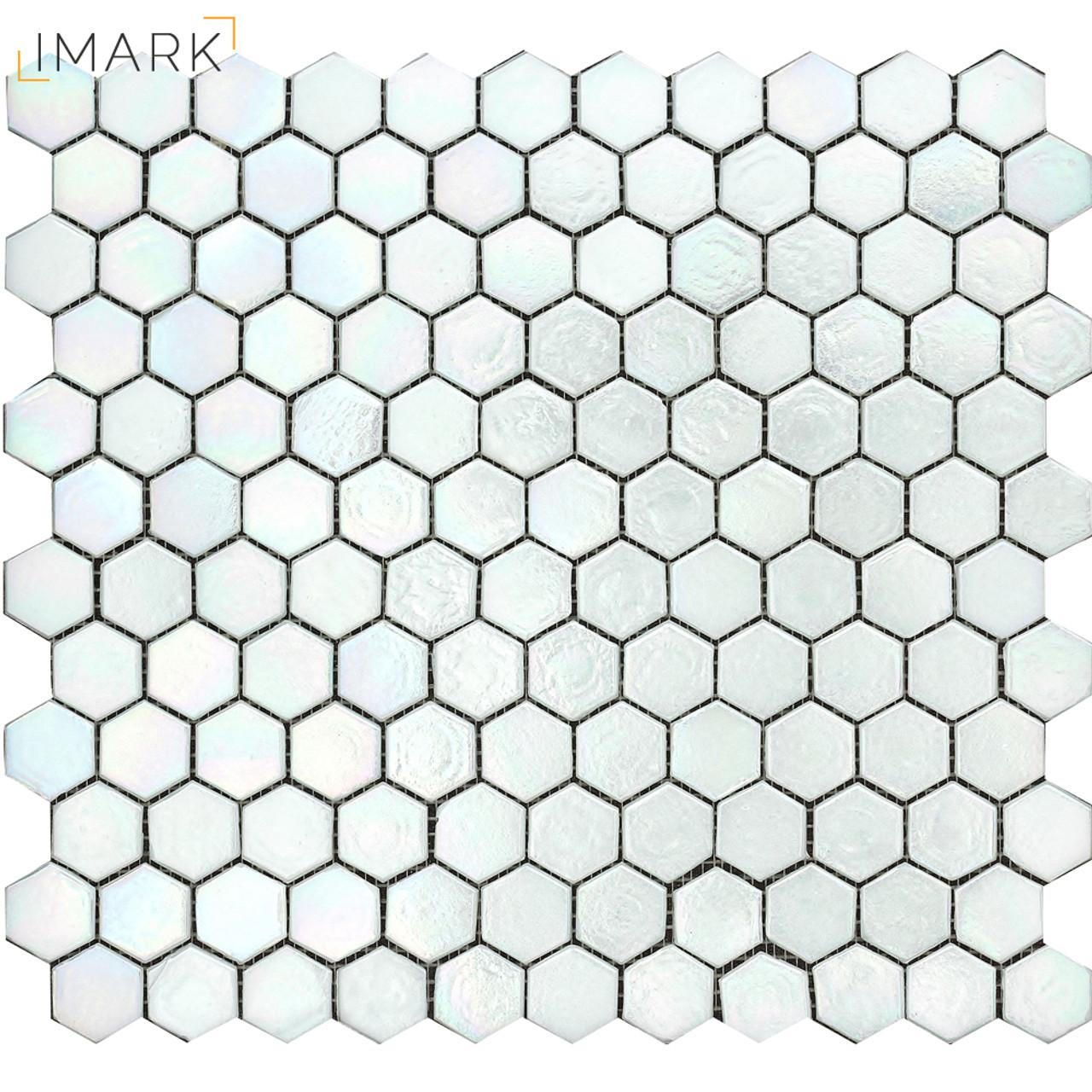 Image of: Imark Honeycomb Glossy White Glass Mosaic Tile For Kitchen Backsplash Tile Foshan Imark Building Materials Co Ltd