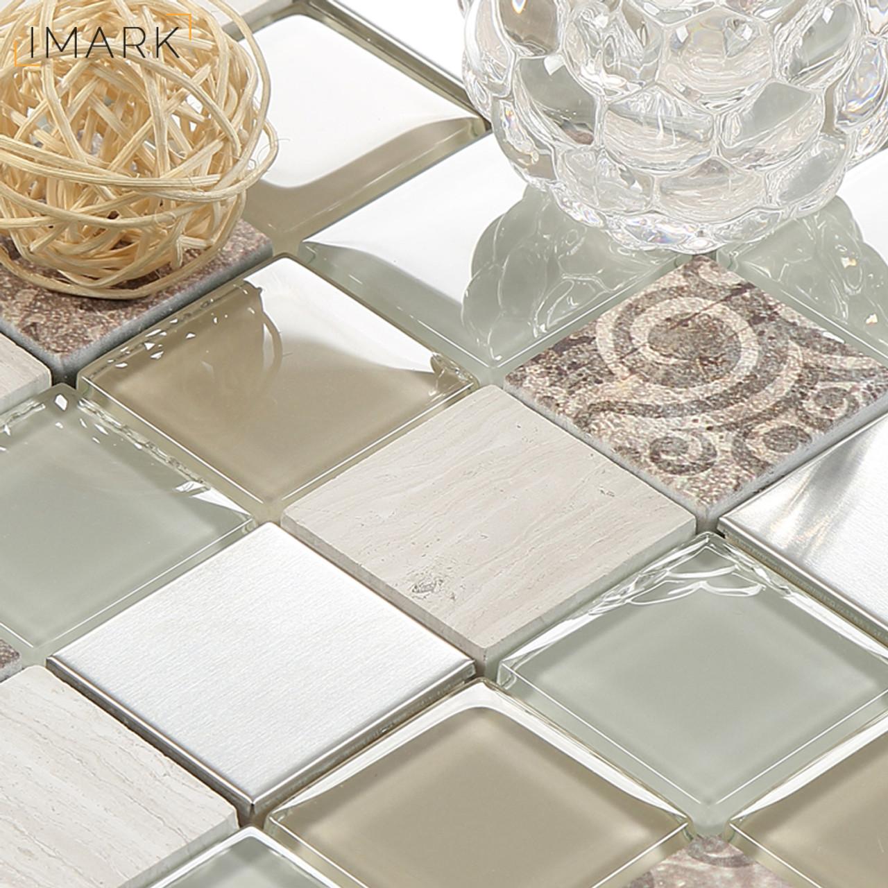 Fabric Texture Digital Inkjet Printed Glass Mosaic Tile