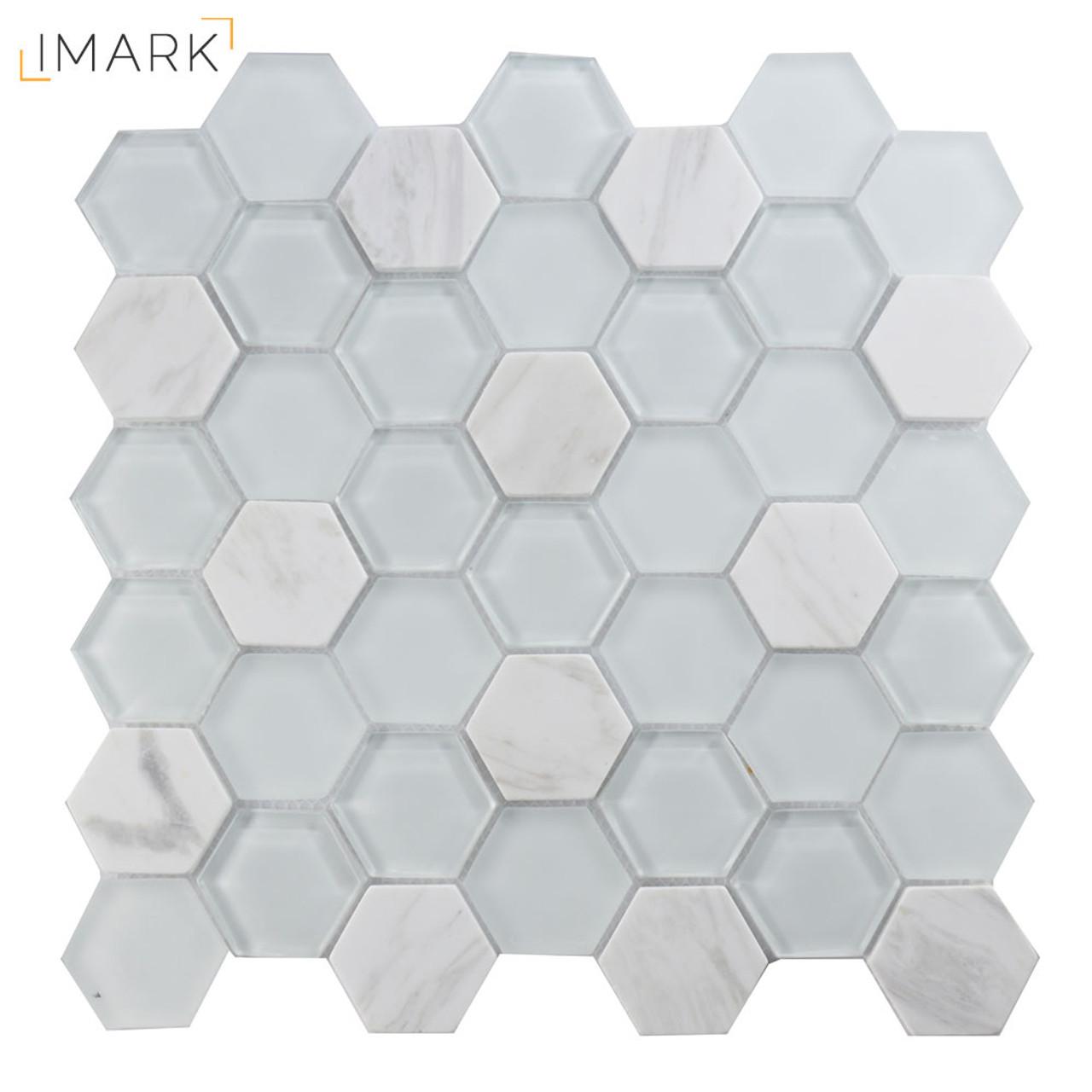 Hexagon Volakas Marble Mixed Glass Mosaic Tile For Kitchen