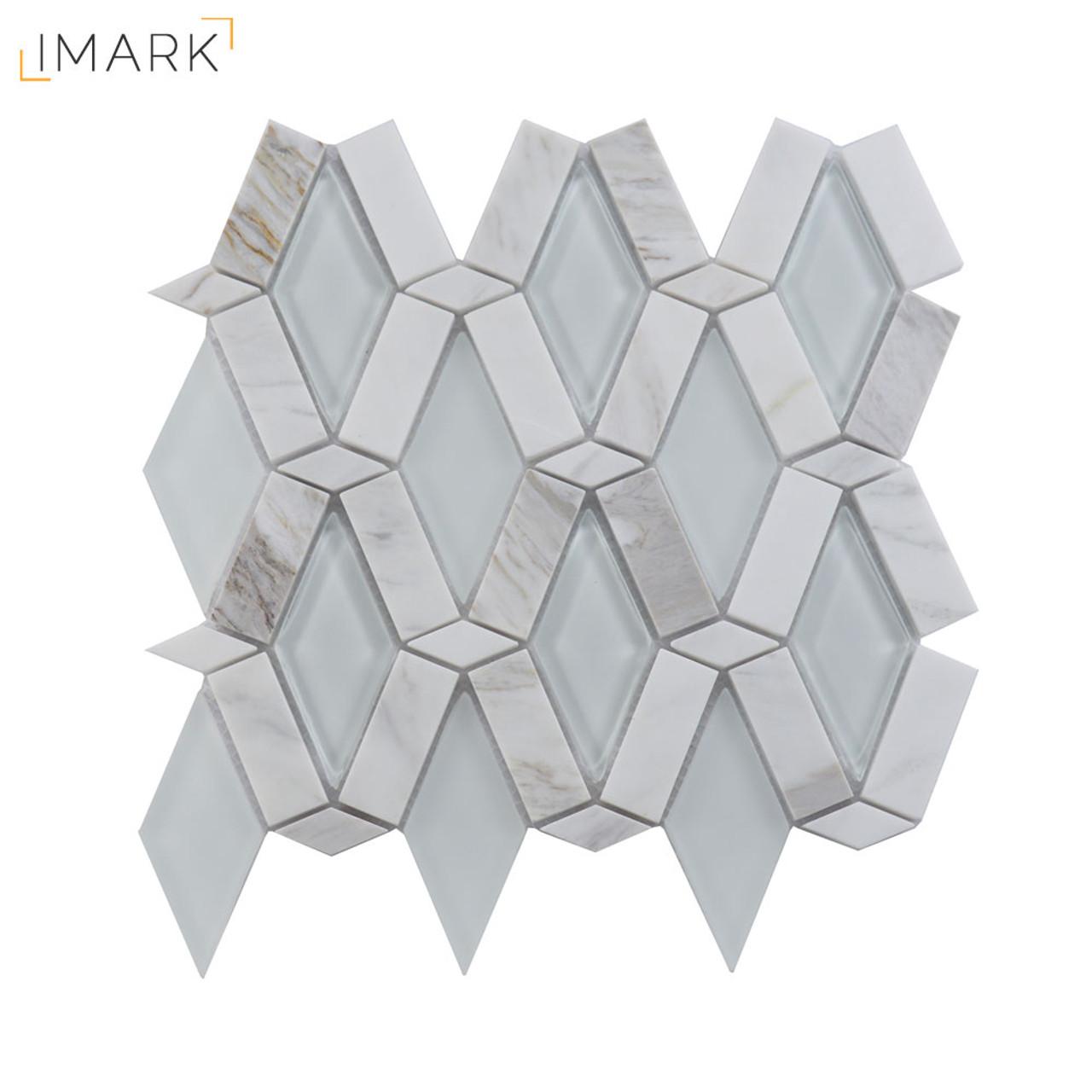 Imark Tile Metro Rhombus Tile Glass Mosaic Backsplash
