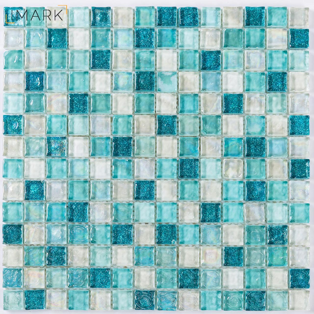 - Cheap Price Greens Iridescent Kitchen Backsplash Glass Tiles Mosaic