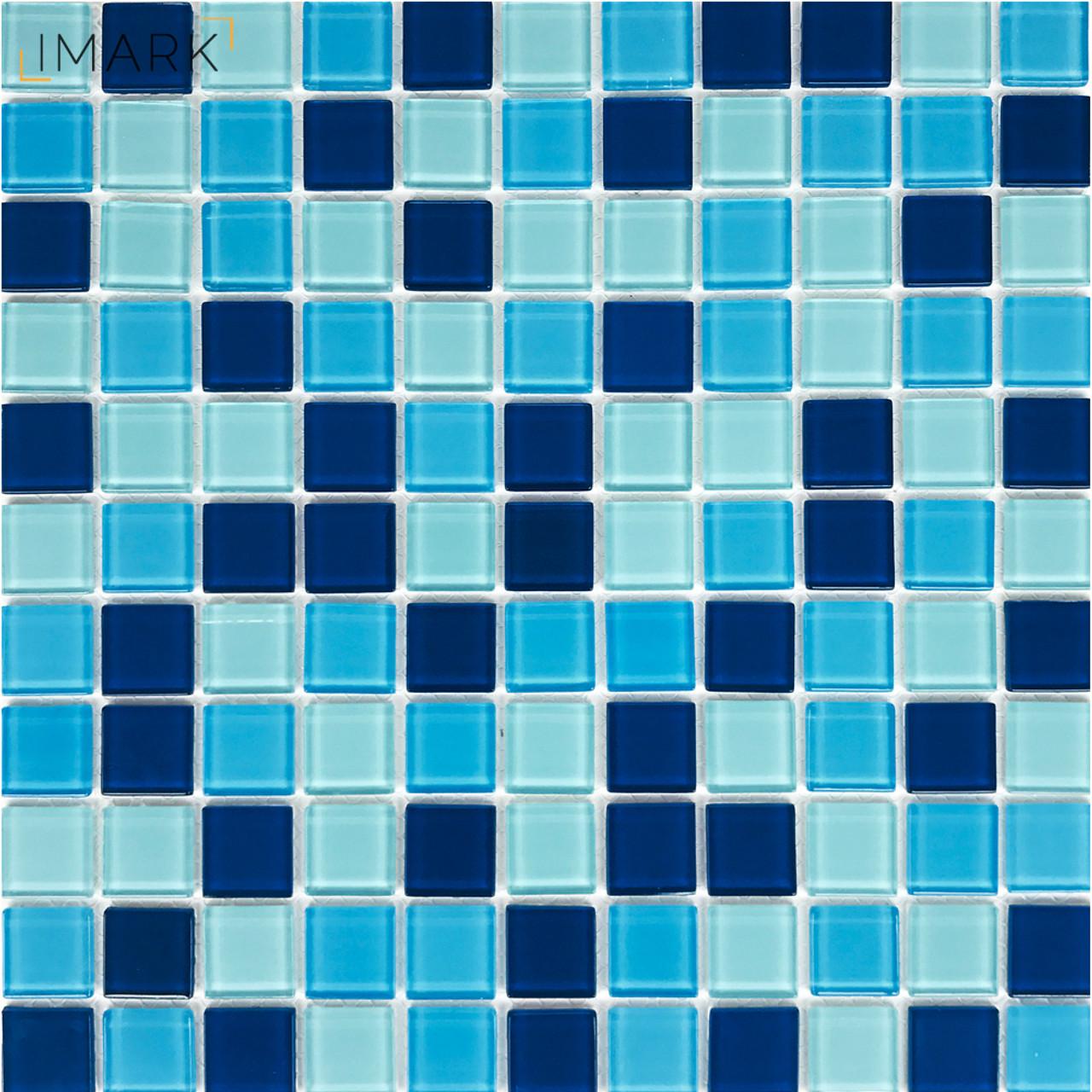 Image of: Cobalt Blue Mix White Crystal Glass Mosaic Tile Stikers For Kitchen Backsplash