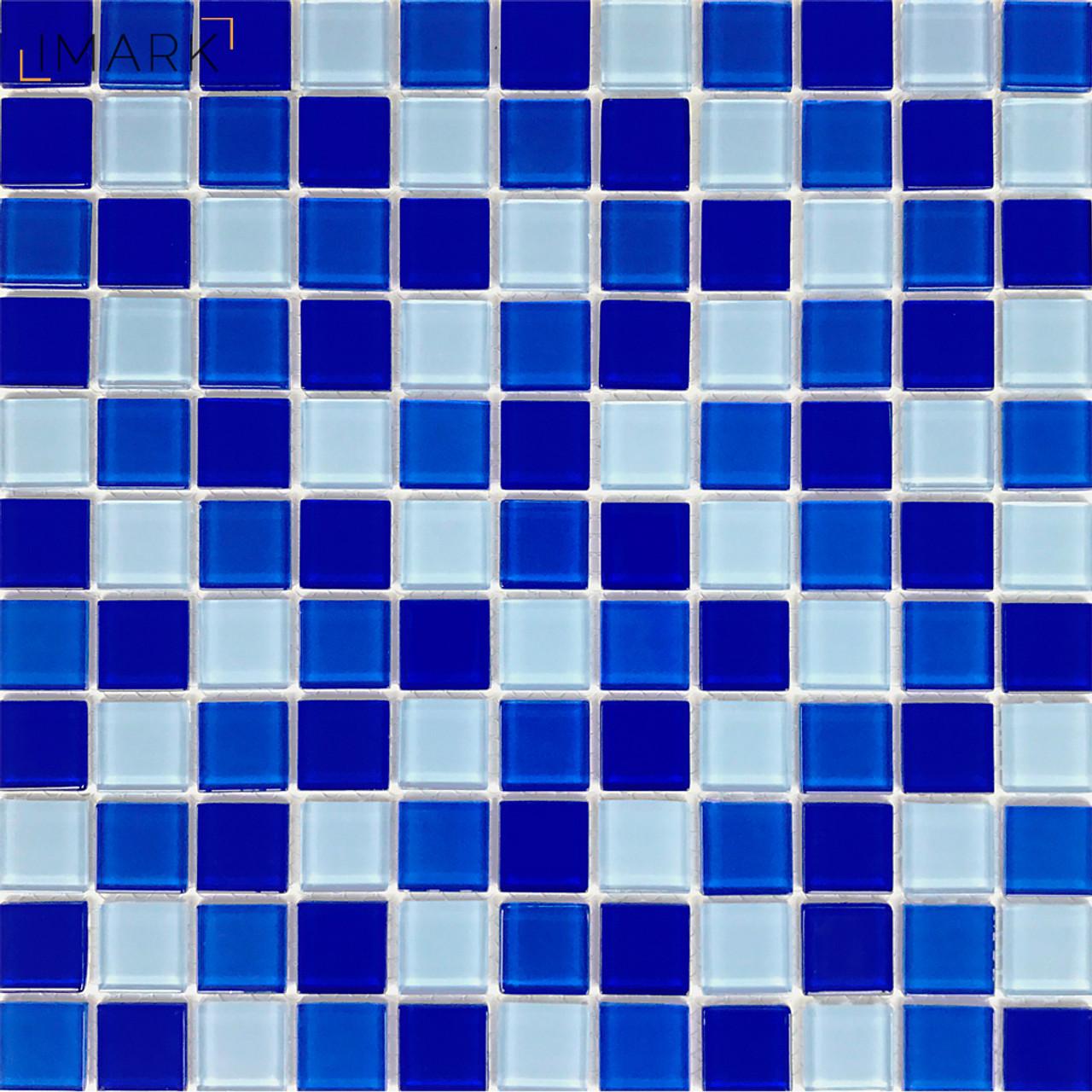 Image of: Cobalt Blue Glass Mosaic Tile Backsplash For Kitchen Wall Stickers