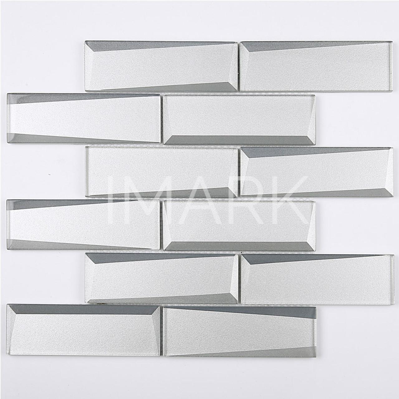 - Gray Glass Beveled 3D Peel And Stick Decorative Wall Tile Backsplash