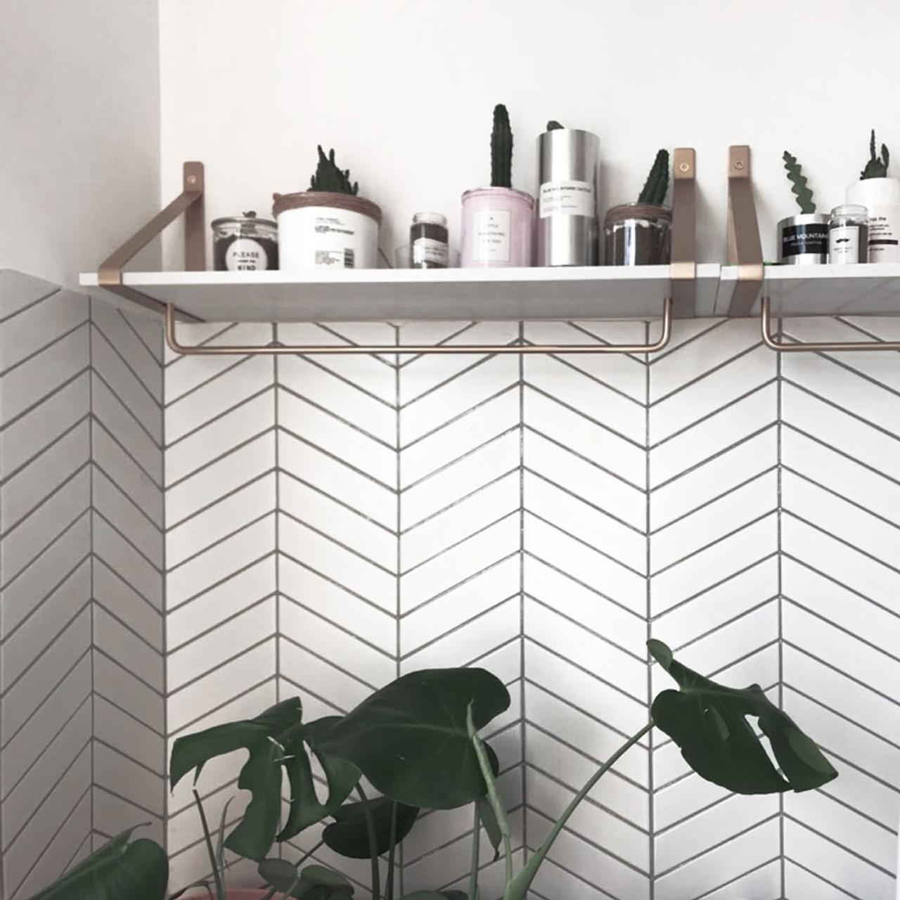 White Matte Glossy Chevron Porcelain Tile Mosaic For Kitchen