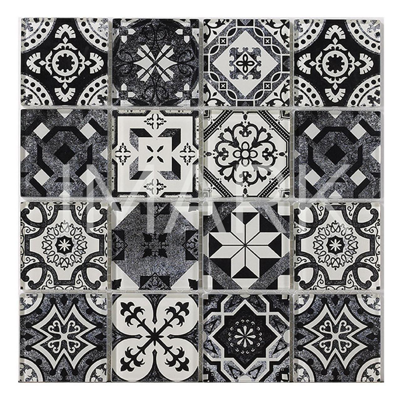 - Black/White Handmade Marrakesh Glass Kitchen Backsplash Mosaics