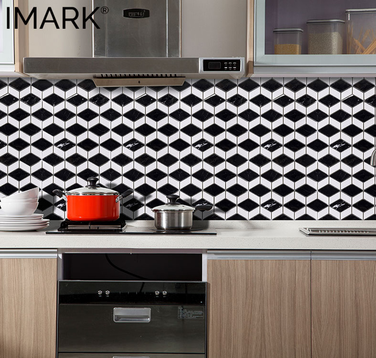 - Rhombus Black White Marble Wall Decoration Mosaic Tile For Kitchen