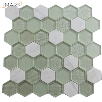 Hexagon Dark Blue Recycled Glass Tile Mosaic Tile