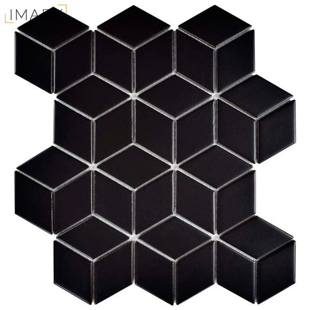 Metro Rhombus Matte Black 10-1/2 in. x 12-1/8 in. x 5 mm Porcelain Mosaic Tile