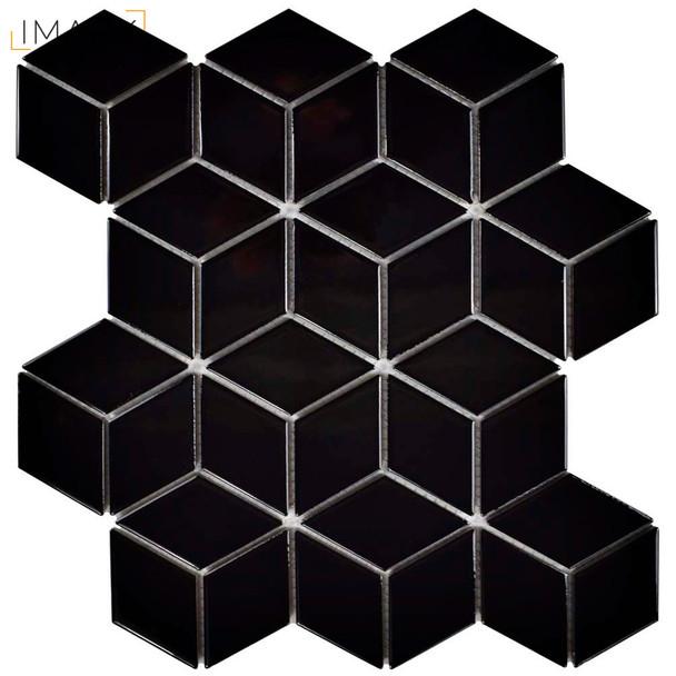 Metro Rhombus Glossy Black 10-1/2 in. x 12-1/8 in. x 5 mm Porcelain Mosaic Tile