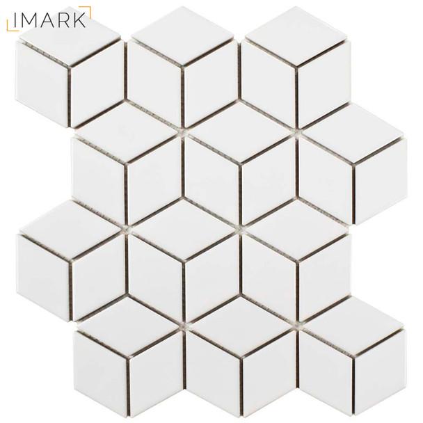 Metro Rhombus Glossy White 10-1/2 in. x 12-1/8 in. x 5 mm Porcelain Mosaic Tile
