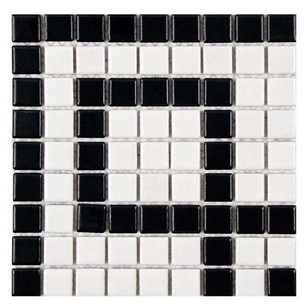 Metro Greek Key Matte White and Black Corner190*190*5 mm Porcelain Mosaic Tile Waterline Tile