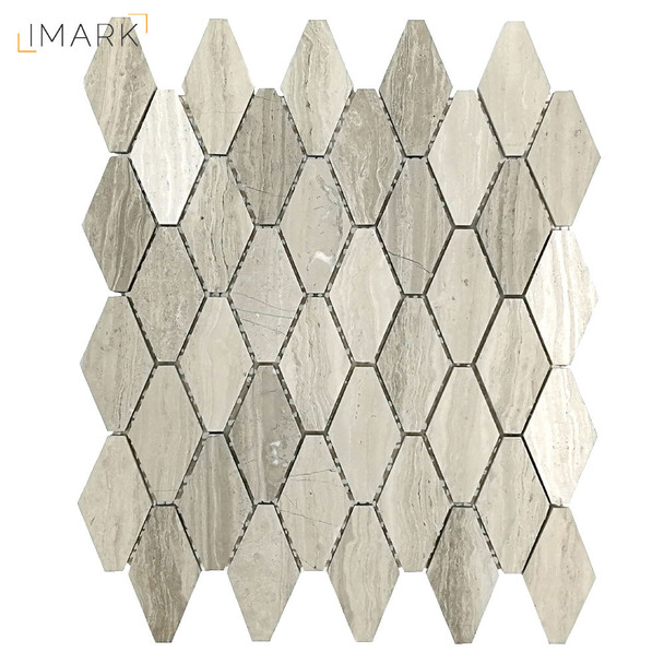 White Grey Wood Grain Marble Polished Or Honed Hexagon Mosaic Tile (STM-HX002)