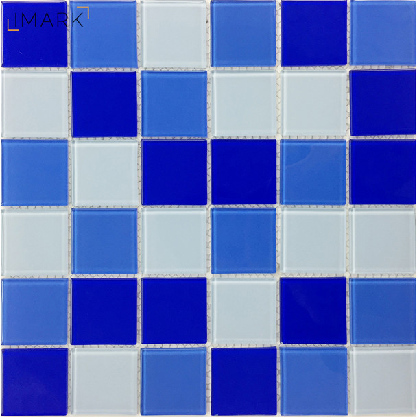 Cheap Blue Mixed Crystal Glass Mosaic Tile For Swimming Pool