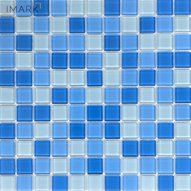 Light Blue Glass Pool Tile Water Line Mosaic Swimming Tile