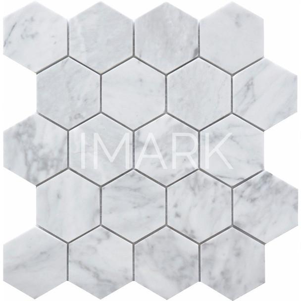 Hexagon Bianco Carrara White Marble Mosaic Tile For Kitchen Wall