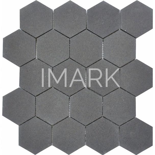 Honed Hexagon Lava Stone Mosaic Tile For Shower Wall Backsplash