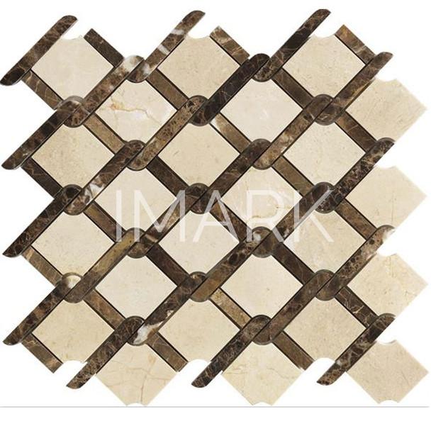 Premium Emperador Dark & Crema Marfil WaterJet Marble Mosaic Tile