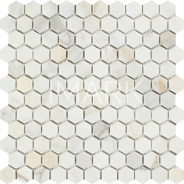 1x1 Polished Calacatta Gold Marble Hexagon Mosaic Wall Tile