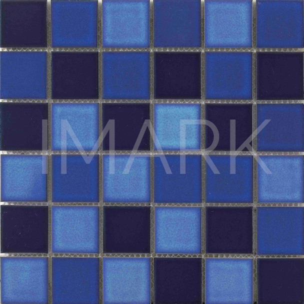 Opaque Blue Rainbow 48X48mm Blend Mosaic Tile For Swimming Pool