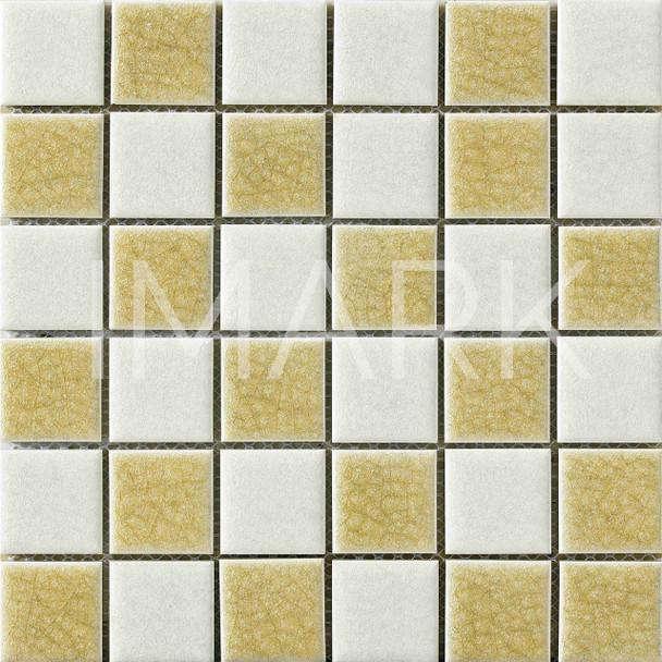 Beige Color Ice Crackle Glazed Porcelain Tile Swimming Pool Mosaic