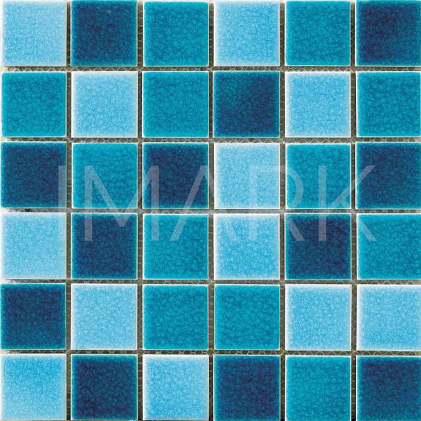 Light Blue Crackle Glazed Ceramic Mosaic Tile For Canton Fair
