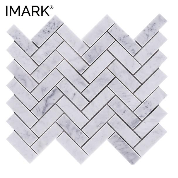 Hampton Carrara Polished Chevron Marble Mosaic Tile Floor & Decor
