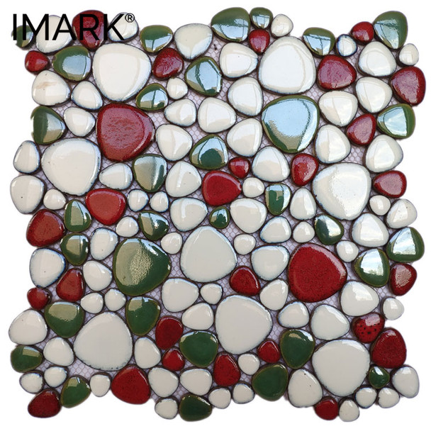 Color Family Pebble Stone Ceramic Mosaic Tile For Shower room Decor