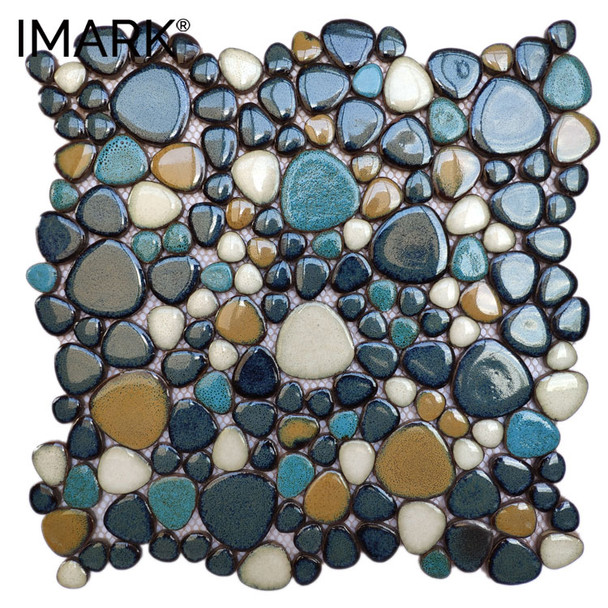 Pebble Stone Ceramic Mosaic Tile For Kitchen Backsplash Decor