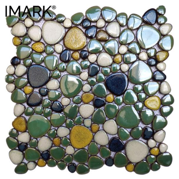 Porcelain Pebblestone Ceramic Tile Mosaic For Garden Floor Decoration