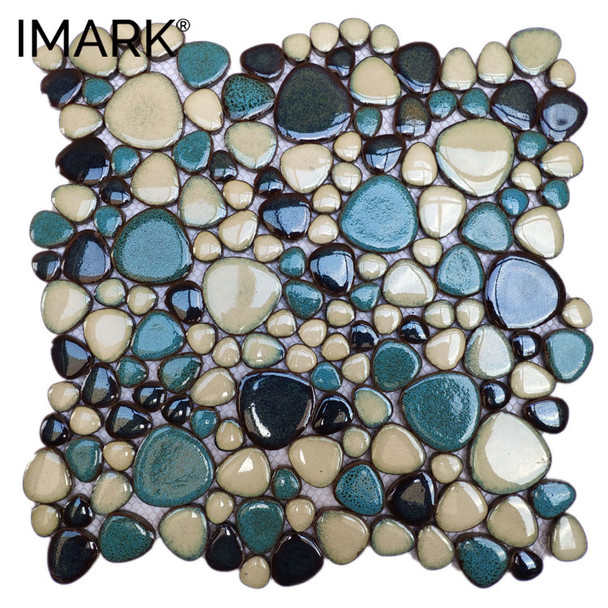 Pebbles Stone Ceramic Mosaic Tile For Landscape & Pool Decoration